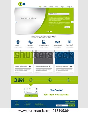 Corporate Website template. Multifunctional Media design. Mobile interface. Vector. Editable. - stock vector