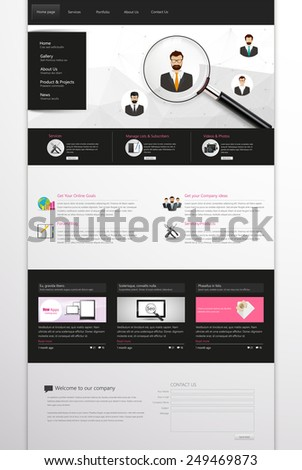 Corporate Website Template, Professional One Page Design. Vector Eps 10