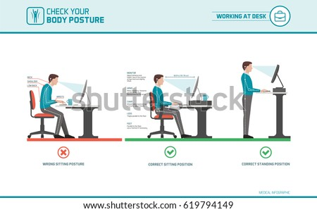 Correct Sitting Desk Posture Ergonomics Advices Stock