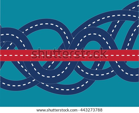 Correct way in confused road. Concept business illustration. Vector flat - stock vector