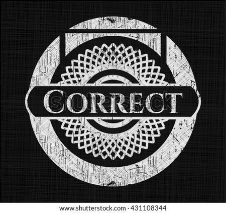 Correct written on a blackboard - stock vector