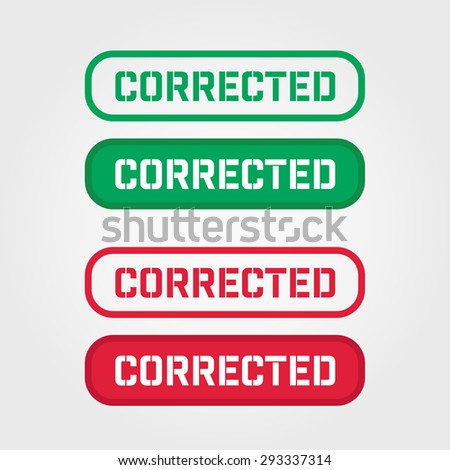 CORRECTED Red and Green Stamp vector over a white background. - stock vector