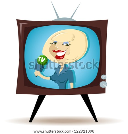 Correspondent on the TV - stock vector