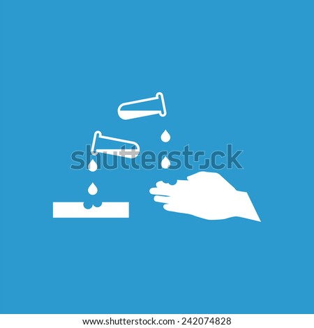 corrosive outline icon, isolated, white on the blue background. Exclusive Symbols  - stock vector