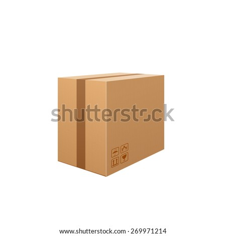 Corrugated box isolated on white background. Beware, the glass! Packaging storage transportation your product. Vector illustration. - stock vector