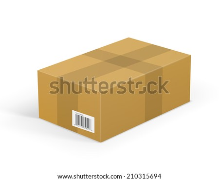 Corrugated cardboard box package isolated on white background - stock vector