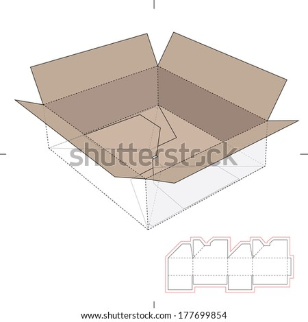 Corrugated Cardboard Storage Box  with Die-cut Layout - stock vector