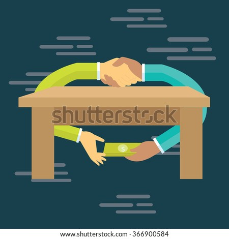corruption bribe people hand over money under table transaction gratification - stock vector