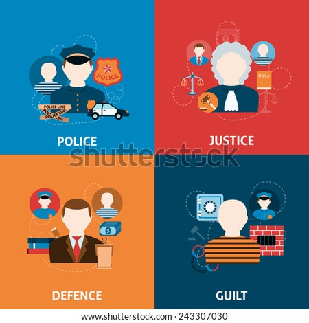 Corruption crime punishment and legal civil law defense justice officer four flat icons composition abstract vector illustration - stock vector