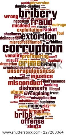 Corruption word cloud concept. Vector illustration - stock vector