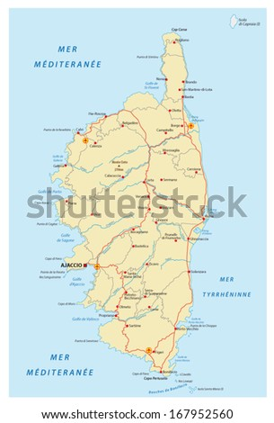 corsica road map - stock vector
