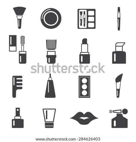 Cosmetic and makeup brus icons set,Vector