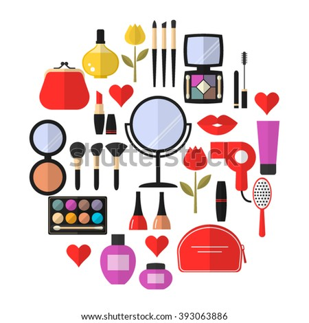 Cosmetic Makeup Vector Flat Icons Set Stock Vector ...