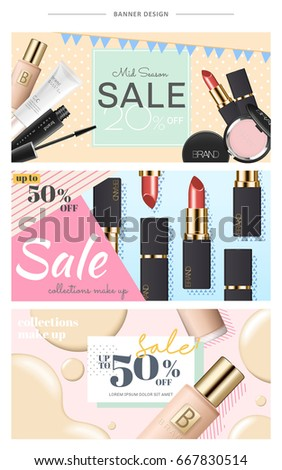 cosmetic banner design for website use with bottles, mascara, foundation case and lipsticks, 3d illustration