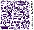 Cosmetic ,Body Care - doodles collection  - stock vector