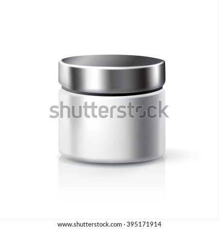Cosmetic bottle isolated on white background with reflection. Blank cosmetics bottle. Cosmetic package. Realistic 3D image.  Vector illustration Design Template for Mock Up.
