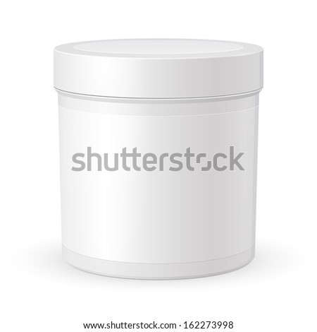 Cosmetic Cream, Gel Or Powder, Light Gray, White, Jar Can Cap Bottle With Label. Blank On White Background Isolated. Ready For Your Design. Product Packing Vector EPS10