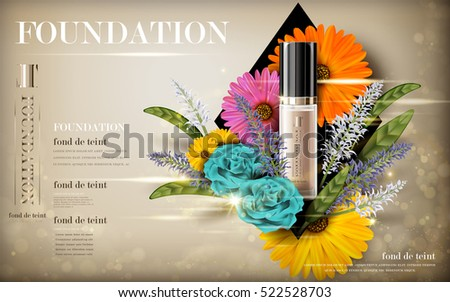 cosmetic foundation product contained in transparent bottle, with flower elements, 3d illustration