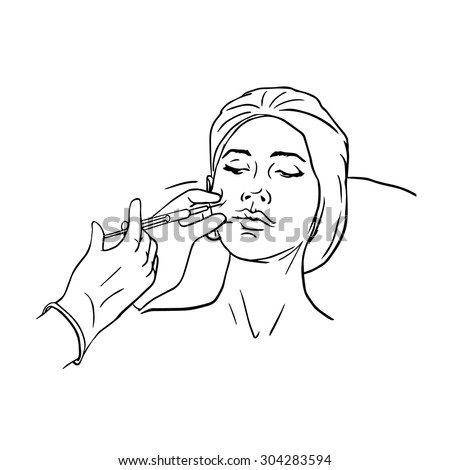 Cosmetic injection in the female face. Cheek zone. Botox injections. Vector black and white outline illustration