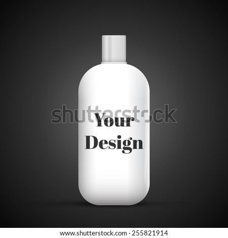 Cosmetic Or Hygiene Grayscale White Gray Chrome Lid Plastic Bottle Of Gel, Liquid Soap, Lotion, Cream, Shampoo. Ready For Your Design. Illustration Isolated On Dark Background. Vector EPS10 - stock vector
