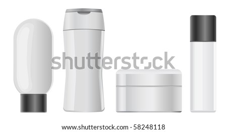 cosmetic plastic containers - stock vector