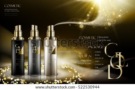 cosmetic product contained in three different colors of bottles, with logo and golden powders, black background, 3d illustration