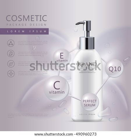 Cosmetic product poster, white liquid soap bottle with water drops isolated on purple background, 3D illustration