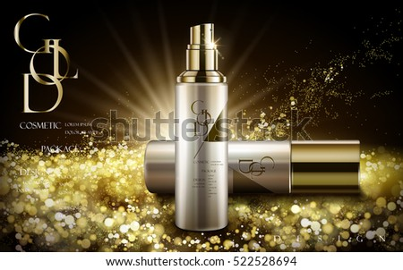 cosmetic product with golden logo and powders, black background, 3d illustration