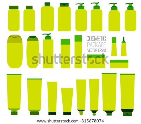 Cosmetic set,  tubes on white background. Cosmetic package, packaging set Vector - stock vector