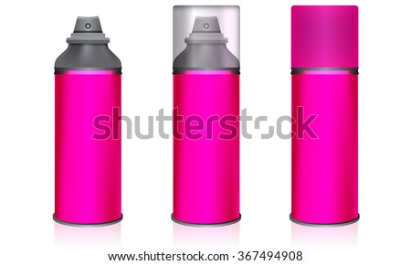 Cosmetic spray bottles deodorant set isolated on white background. Pink color with transparent glass and plastic cover. Vector - stock vector