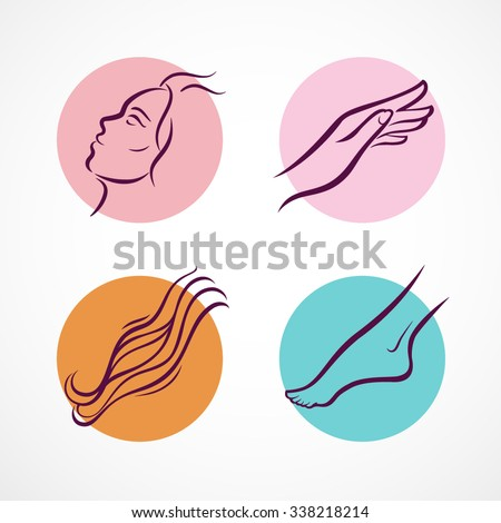 Cosmetic therapy icons set. Different parts of a body - face, hand, hair, foot. Vector illustration. - stock vector