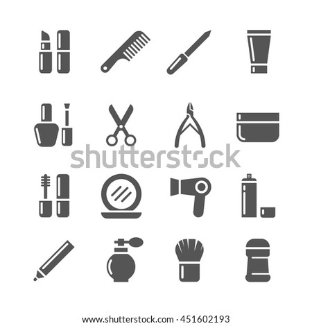 Cosmetics and beauty vector icons. Set of cosmetic for woman, illustration lipstick and cream, cosmetics for makeup