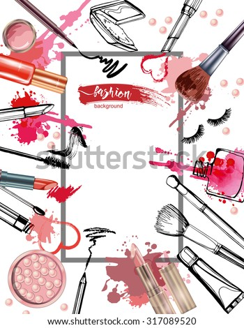 Cosmetics and fashion background with make up artist objects: lipstick, mascara ,eyeliner, nail polish, perfume. With place for your text .Template Vector. - stock vector
