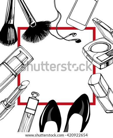 Cosmetics  and fashion background  with   make up artist objects: lipstick, nail polish, blush, lip gloss, black womens shoes. With place for your text .Template Vector. - stock vector