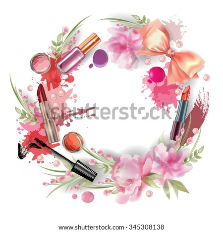 Cosmetics and fashion background with wreath of make up artist objects and flowers Vector illustration. - stock vector