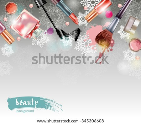 Cosmetics and fashion, Christmas And New Year background with make up artist objects: lipstick, mascara eyeliner, nail polish, perfume. With place for your text .Template Vector. - stock vector