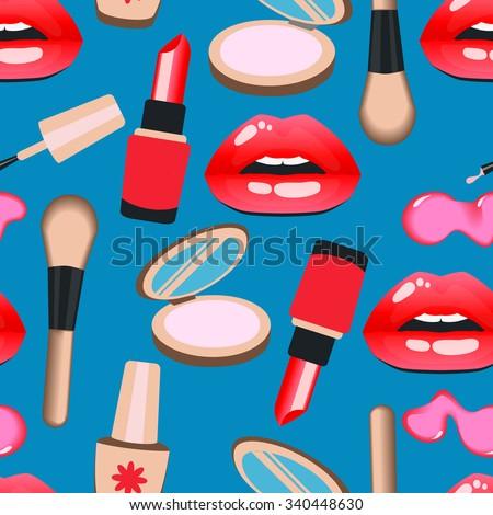 Cosmetics and makeup seamless pattern. Closeup beautiful lips of woman with red lipstick and gloss, brush, powder, lipstick, nail polish. Sexy wet lip make-up. Open mouth. Sweet kiss.  - stock vector