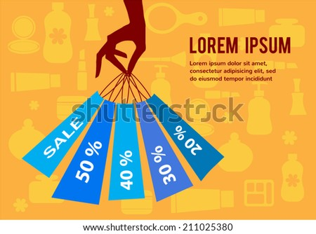 Cosmetics clearance; A hand holding shopping bags to promote sales  - stock vector