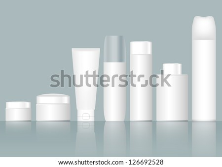 Cosmetics containers / packaging - stock vector