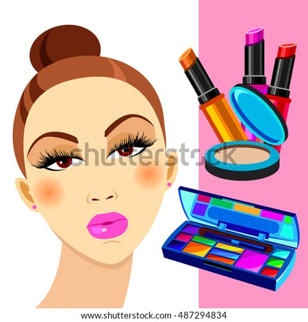 cosmetics, design, glamour, brush, care, skin, beautiful, face, woman, set