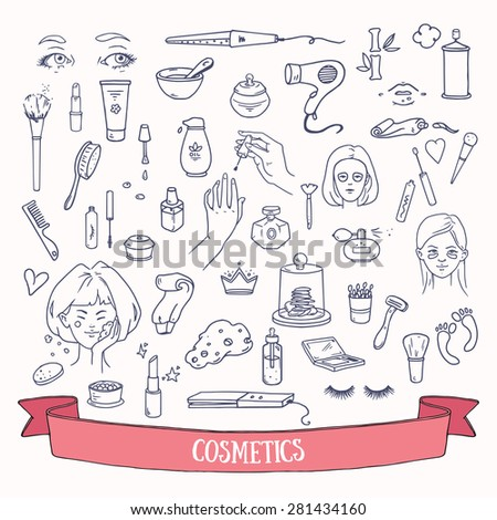 Cosmetics doodles. Hand drawn vector set of beauty and self-care signs. - stock vector