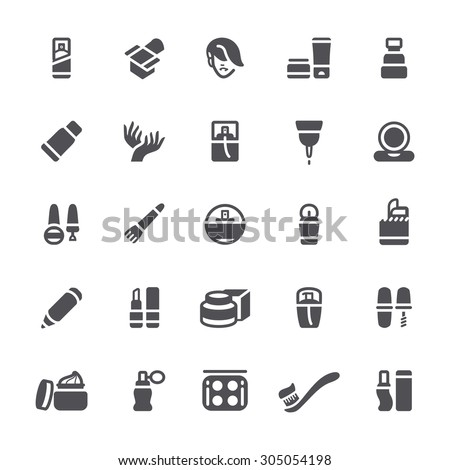 Cosmetics Icons and makeup - stock vector