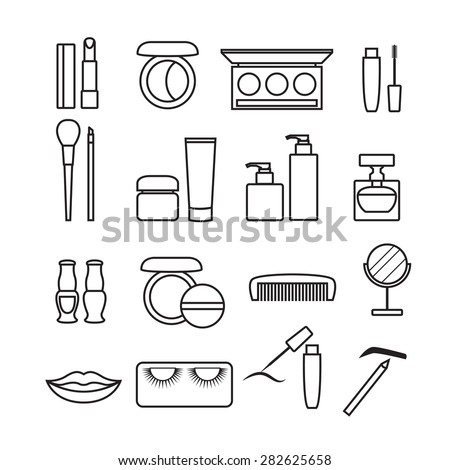 Cosmetics Icons, beauty vector set