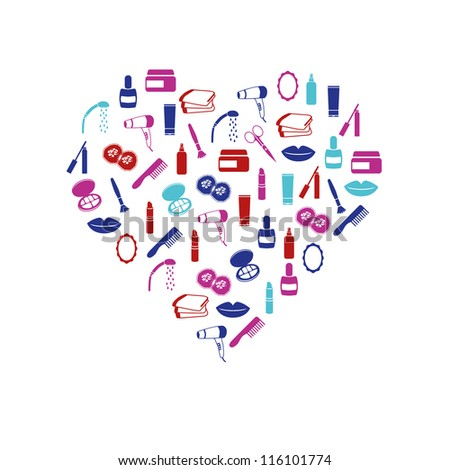 cosmetics icons in heart - stock vector