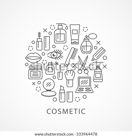 Cosmetics illustration with icons and signs in linear style - stock vector