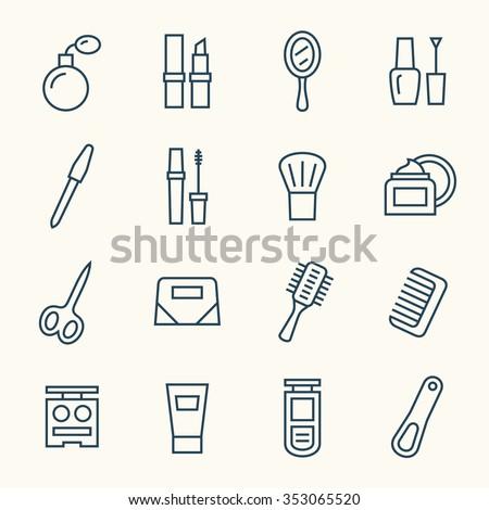 Cosmetics line icon set - stock vector