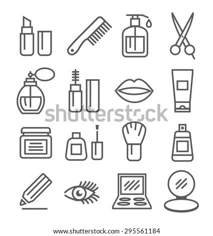 Cosmetics line icons - stock vector