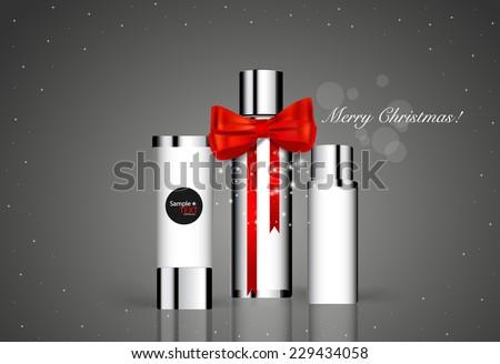 Cosmetics packaging, Holiday Gift. Vector illustration. - stock vector