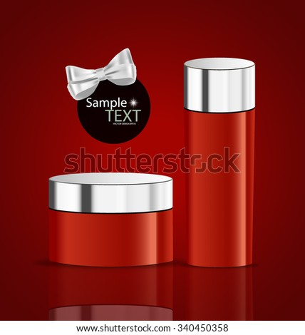 Cosmetics packaging, Holiday Gift. Vector illustration.