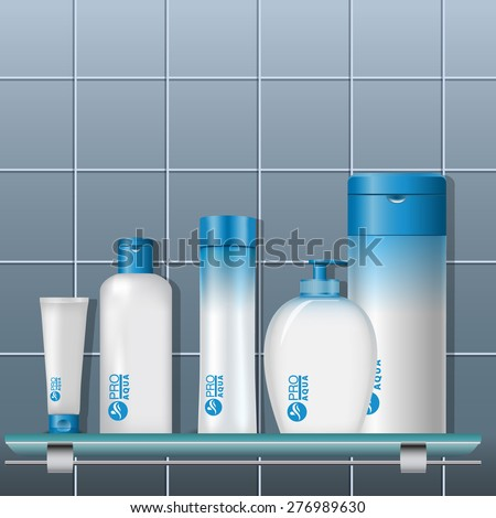Cosmetics set on a shelf in the bathroom. Plastic packaging. Vector template for your design - stock vector